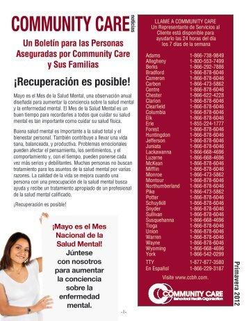 Primavera 2012 - Community Care Behavioral Health