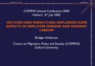Matches, Mismatches and Migrant Labour: Some ... - COMPAS