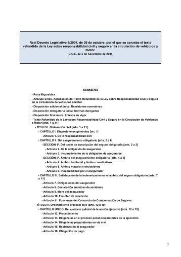 Real Decreto Legislativo 8/2004, de 29 de octubre, por el ... - Unespa