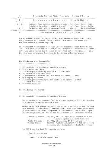 Nr. 09 vom 11.03.2004 - Rundspruch-Archiv des DARC-Distrikts Berlin