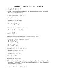 algebra 1 exemption test review - Bishop O'Connell High School