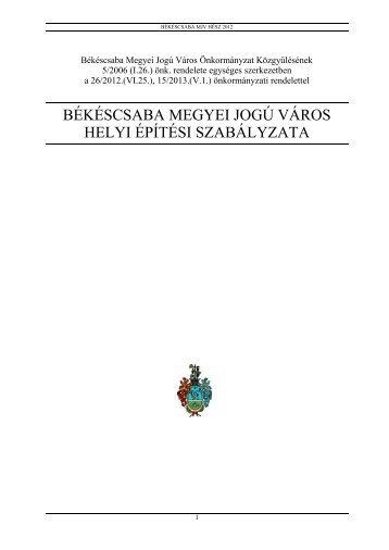 békéscsaba megyei jogú város helyi építési szabályzata