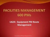 U624 Equipment PM Route Management - Facilities Management