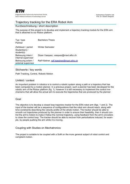 ASL Student Project Description - ETH - ASL Student Projects
