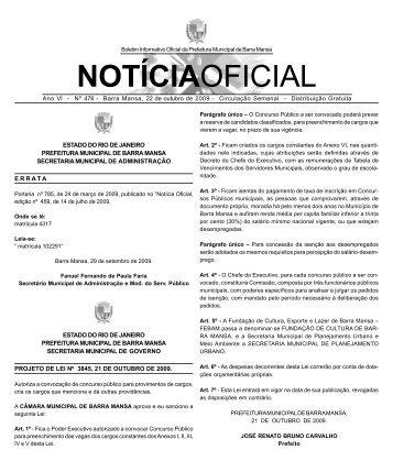 NOTÍCIAOFICIAL - Prefeitura Municipal de Barra Mansa