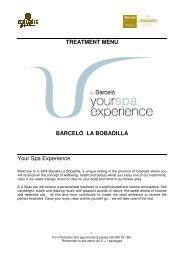 TREATMENT MENU BARCELÓ LA BOBADILLA Your ... - Barcelo.com