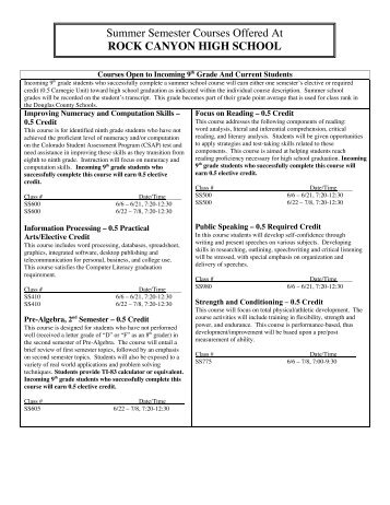 Summer Semester Courses Offered At ROCK CANYON HIGH ...