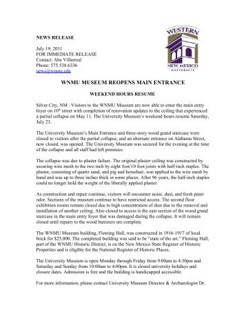 wnmu museum reopens main entrance - Western New Mexico ...