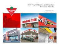 Q4 2009 Conference Call Slides - Canadian Tire Corporation
