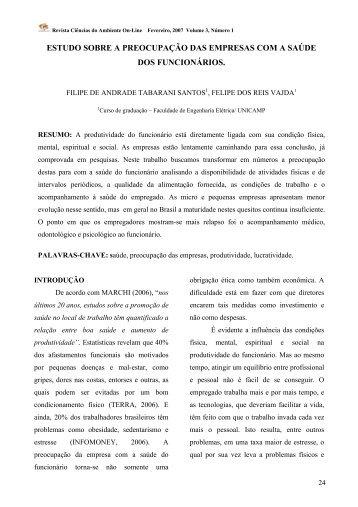 ESTUDO SOBRE A PREOCUPAÇÃO DAS EMPRESAS ... - Unicamp