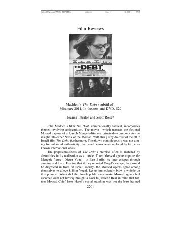 Film Reviews - Journal for the Study of Antisemitism