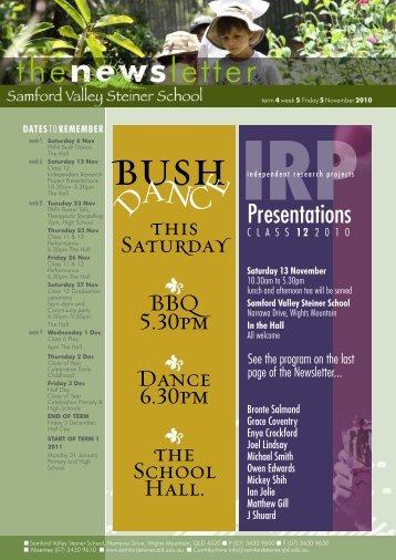 Newsletter Term 4 Week 5 - Samford Valley Steiner School