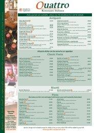 Quattro Menu - Quattro Restaurant