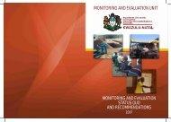 M&E Status Quo - Department of Economic Development and Tourism