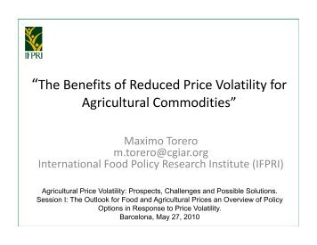 The Benefits of Reduced Price Volatility for Agricultural Commodities