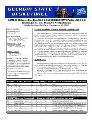 Game Notes vs. Delaware - Georgia State University Athletics