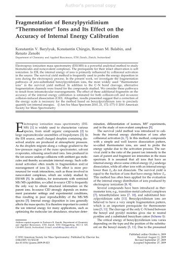 """Fragmentation of Benzylpyridinium """"Thermometer"""" Ions and Its Effect ..."""
