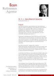 Dr. h. c. Hans-Dietrich Genscher - Econ Referenten-Agentur