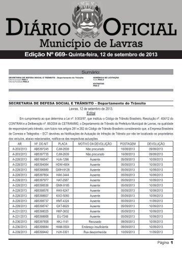 Edição 669_12_09_2013 - Prefeitura Municipal de Lavras