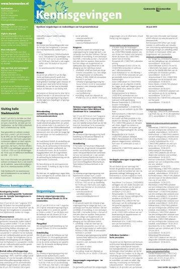 Kennisgevingen 26 juni 2013 - Gemeente Leeuwarden
