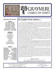 Bulletin Complete 2009 - Graymere church of Christ