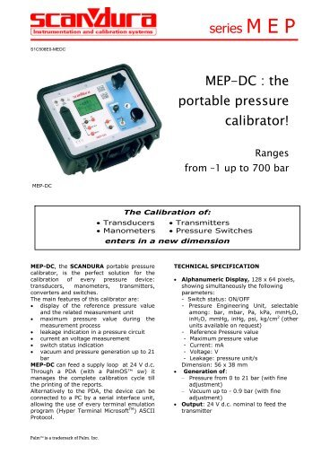 MEP-DC : the portable pressure calibrator! series M E P - Merkantile