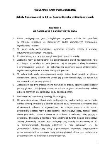 Regulamin Rady Pedagogicznej - Szkoła Podstawowa nr 13 w ...