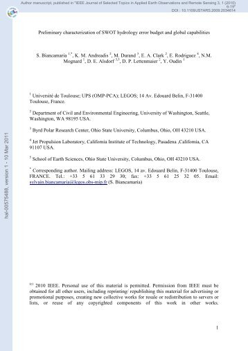 Preliminary characterization of SWOT hydrology error budget and ...