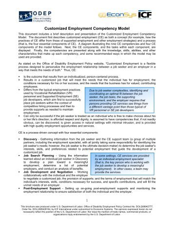 Customized Employment Competency Model