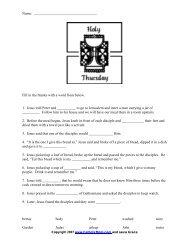 Holy Thursday Worksheet - Catholic Mom