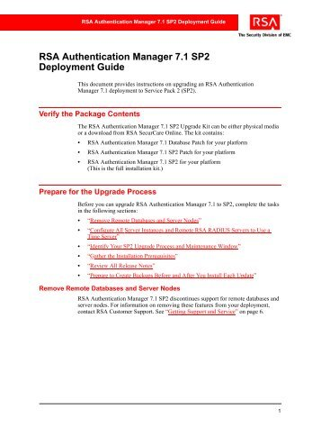 RSA Authentication Manager 7.1 SP2 Deployment Guide