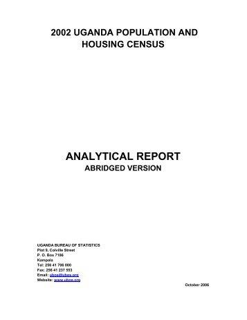 Census Analytical Report - Uganda Bureau of Statistics
