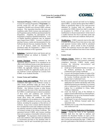Corel License for Learning (EMEA) Terms and Conditions 1 ...