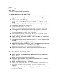 Science Grade Level: 8 Earth Science Academic expectations of ...