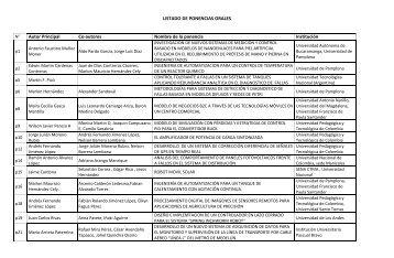 LISTADO DE PONENCIAS ORALES Autor Principal Co-autores ...