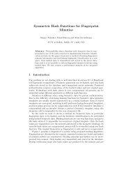 Symmetric Hash Functions for Fingerprint Minutiae - CEDAR