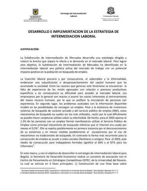 desarrollo e implementacion de la estrategia de intermediacion ...