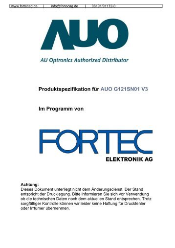 Product Specification - Fortec AG
