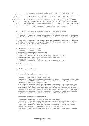 Nr. 09 vom 03.03.2005 - Rundspruch-Archiv des DARC-Distrikts Berlin