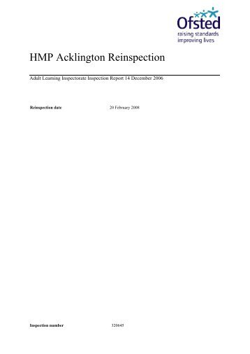 HMP Acklington Reinspection - Inside Time