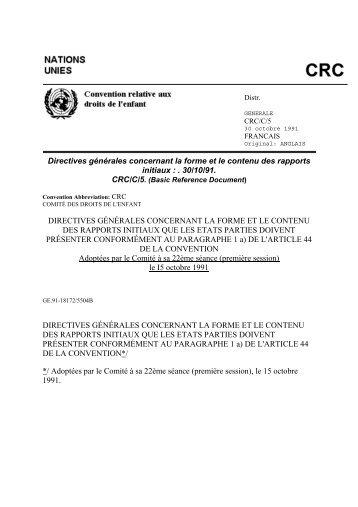 Directives générales concernant la forme et le contenu des rapports ...