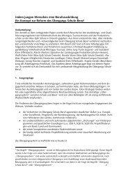 Ein Konzept zur Reform des Übergangs Schule-Beruf