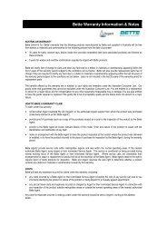 Bette Warranty Information & Notes - Argent Australia