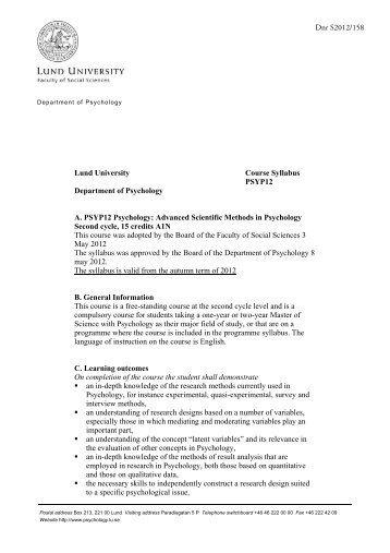 Dnr S2012/158 Lund University Course Syllabus PSYP12 ...