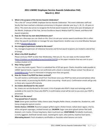 2011 UWMC Employee Service Awards Celebration FAQ ... - ODT