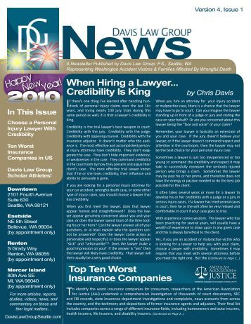 Volume 4, Issue 1 - Davis Law Group Newsletter - January 2010