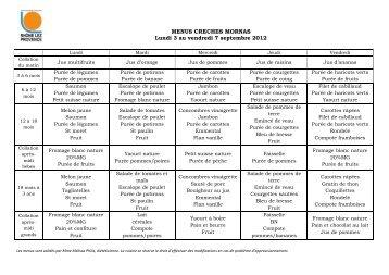 MENUS CRECHES MORNAS Lundi 3 au vendredi 7 septembre 2012