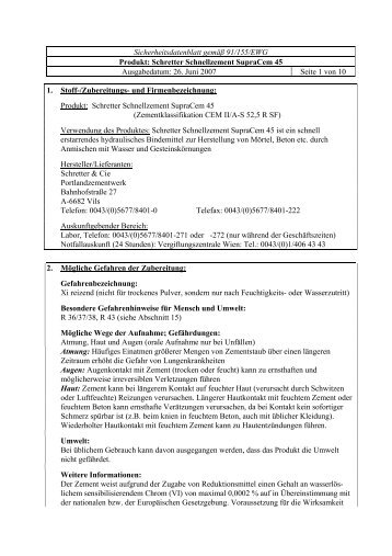 SDB SupraCem45.pdf - chemie.at