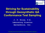 Striving for Sustainability through Geosynthetic QA Conformance ...