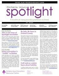 May - June Spotlight - Ontario Injury Prevention Resource Centre